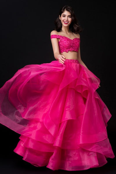 e0cdffaf38ea8 Fuchsia Organza Two-piece Prom Dresses Lace Off-the-shoulder ...