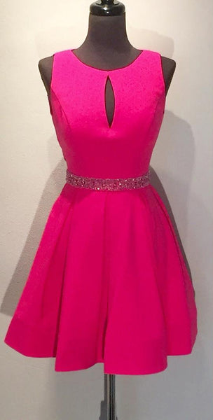fuchsia-satin-a-line-short-homecoming-dresses-with-hollow-back-1