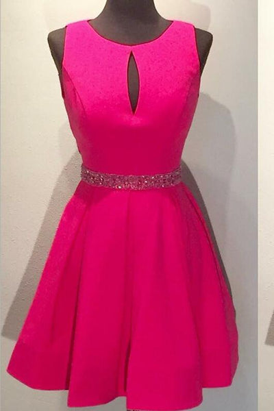 fuchsia-satin-a-line-short-homecoming-dresses-with-hollow-back