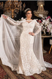 full-hollow-lace-wedding-gowns-with-long-chiffon-shawl