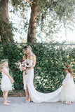 Full Lace Boho Wedding Gown with Cut Front