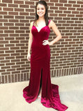 full-length-velvet-burgundy-prom-evening-dresses-with-side-slit-1