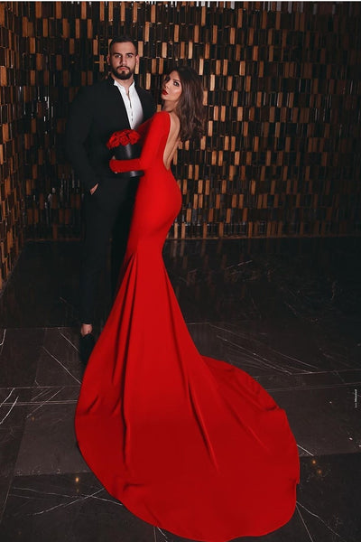 Full Sleeves Mermaid Red Evening Gown with Open Back