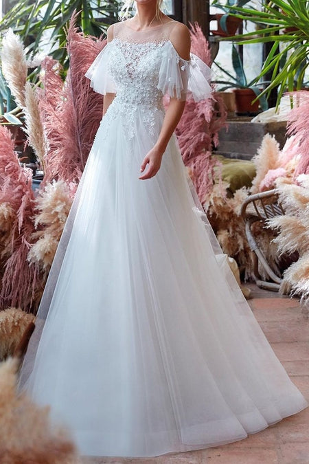 A-line Lace Chiffon Tea-Length Wedding Dresses with Sleeves