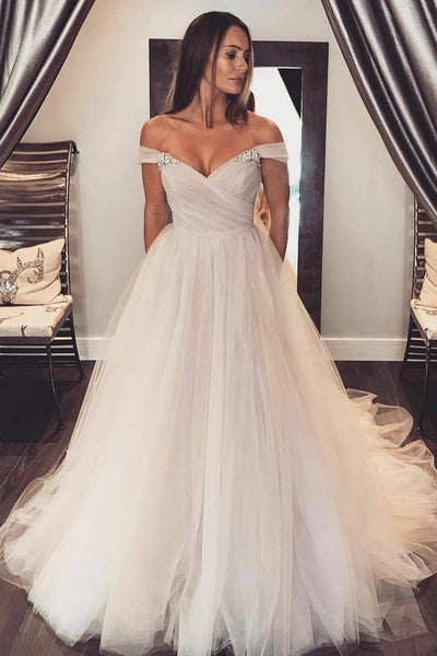 4b10e9bc73f Glamorous Tulle Wedding Gown with Rhinestones Off-the-shoulder –  loveangeldress