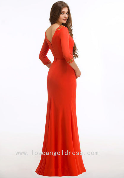 gold-beaded-v-neck-orange-red-groom-mother-dress-with-sleeves-1