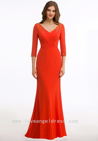 gold-beaded-v-neck-orange-red-groom-mother-dress-with-sleeves