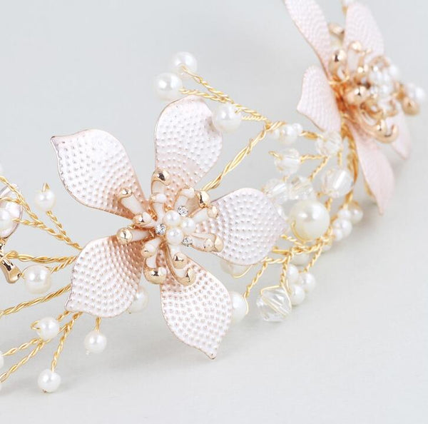 Gold Flower Wedding Headdress Bridal Wedding Hair Accessories