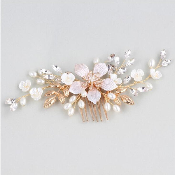 Gold Leaf Hairpiece Crystals Wedding Hair Comb