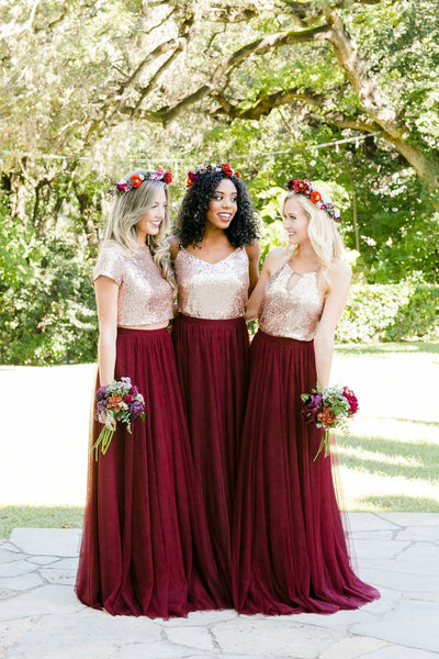 0e477f82ebd Gold Sequin Two Piece Burgundy Bridesmaid Dresses Tulle Skirt ...