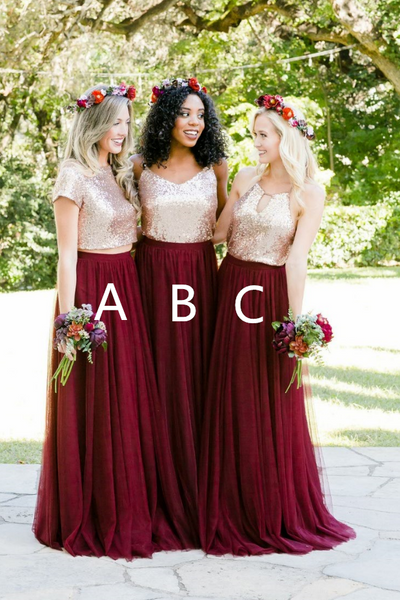 dd49eaac43f Gold Sequin Two Piece Burgundy Bridesmaid Dresses Tulle Skirt –  loveangeldress