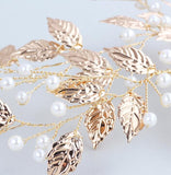 Gold Wedding Hair Clip Accessories Leaf and Pearls Bridal Headpiece
