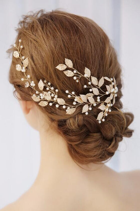Crystal Freshwater Bridal Hair Vine Gold Wedding Hair Accessory