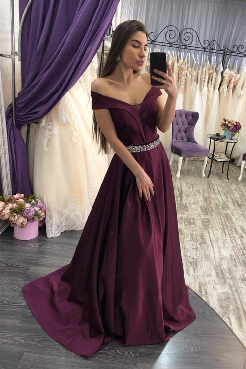 grape-purple-satin-prom-dresses-with-beaded-belt