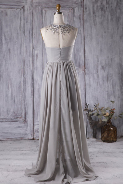 gray-chiffon-high-low-bridesmaid-dress-with-rhinestones-neckline-1