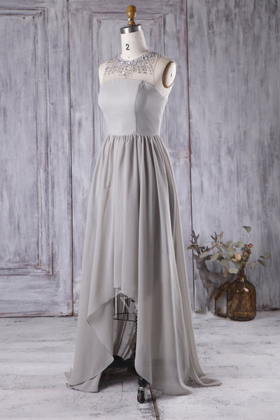 gray-chiffon-high-low-bridesmaid-dress-with-rhinestones-neckline