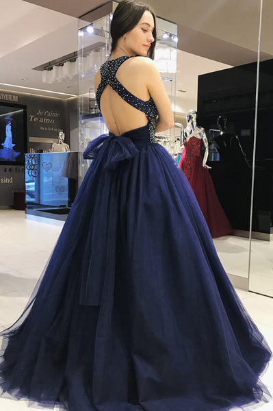 grecian-neck-beaded-navy-prom-dresses-tulle-ball-gown-with-hollow-back-1