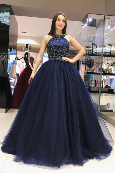grecian-neck-beaded-navy-prom-dresses-tulle-ball-gown-with-hollow-back