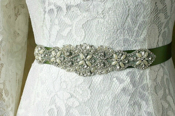 green-beaded-sash-rhinestone-satin-ribbon-wedding-belt