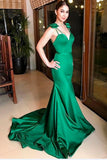green-satin-mermaid-evening-prom-dress-with-bow-spaghetti-straps