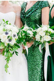 green-sequin-bridesmaid-wedding-guests-dress-with-draped-neckline-1