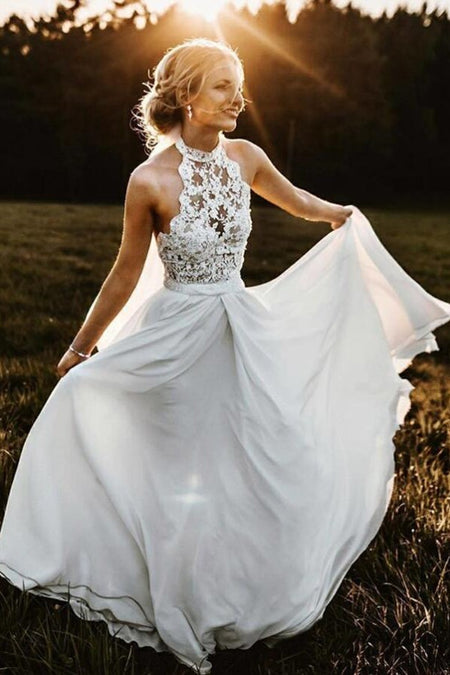 V-neckline Simple Boho Beach Wedding Dress Organza