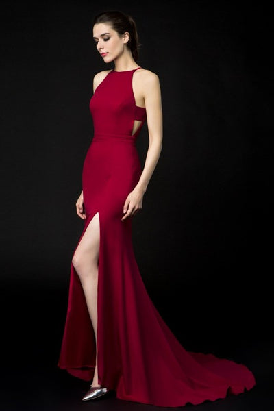 halter-neckline-burgundy-evening-dresses-side-slit-2