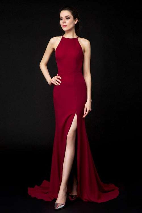 904e3d7952 halter-neckline-burgundy-evening-dresses-side-slit
