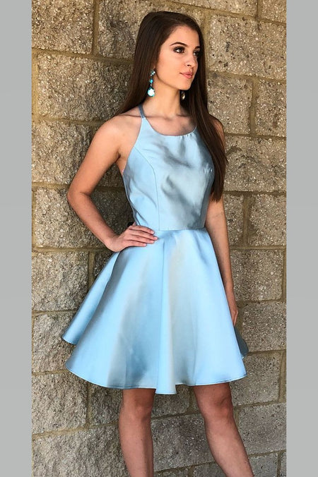 Mint-Green Satin Short Homecoming Dresses with Deep V-neckline