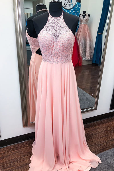 halter-pink-prom-chiffon-dresses-with-beaded-lace-bodice