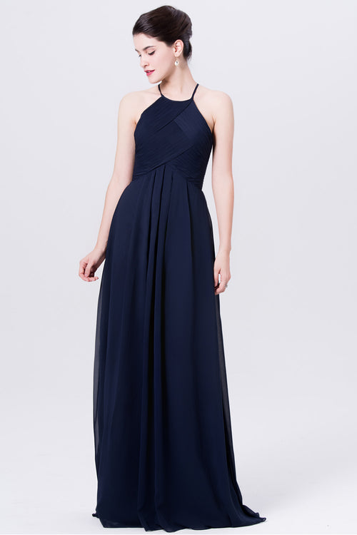halter-straps-long-chiffon-navy-blue-bridesmaid-dresses