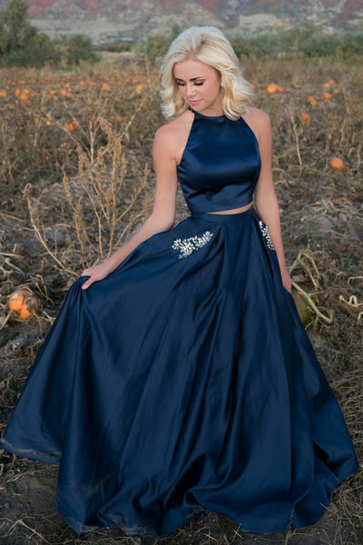 7103e170bc Halter Two Piece Prom Dresses Dark Blue Satin Stones Pockets –  loveangeldress