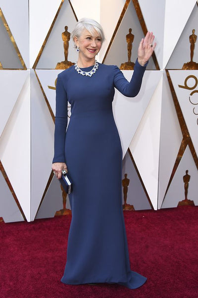 helen-mirren-blue-long-sleeves-simple-celebrity-evening-dress-3