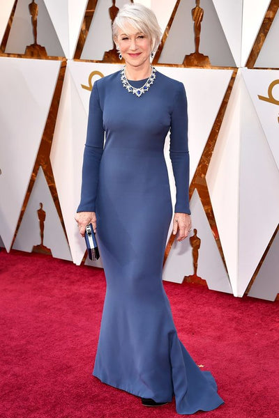 helen-mirren-blue-long-sleeves-simple-celebrity-evening-dress-2