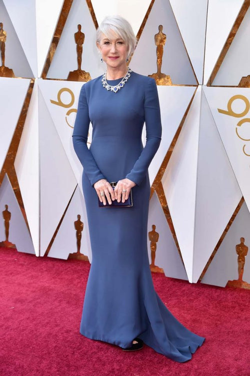 helen-mirren-blue-long-sleeves-simple-celebrity-evening-dress