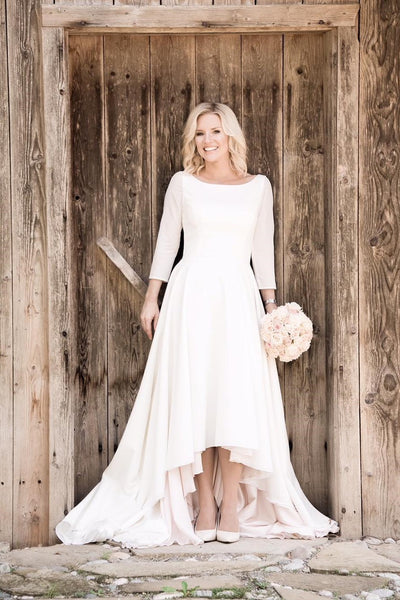 high-low-casual-wedding-dresses-with-34-sleeves