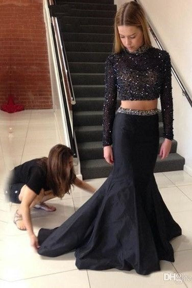 high-neck-beaded-black-long-sleeves-prom-dress-two-piece