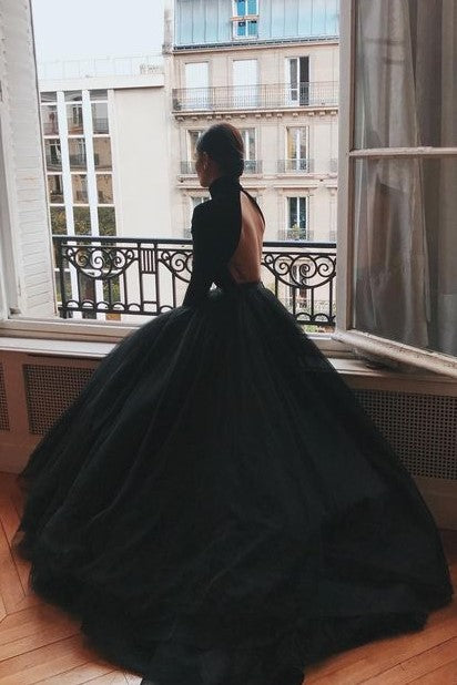 high-neck-black-ball-gown-dresses-with-long-sleeves