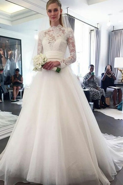 84f4e4aa2a12 High Neck Lace Long Sleeved Modest Wedding Dresses for Brides ...