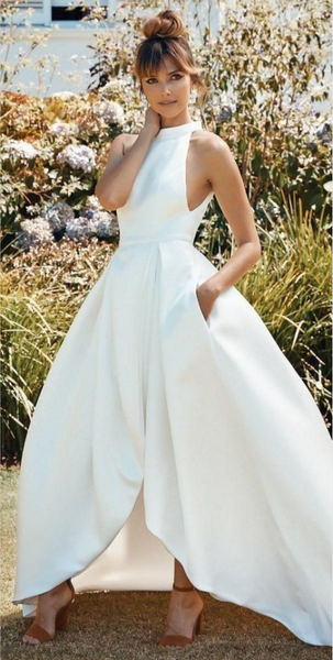 High Neck Satin Bridal Gown with Cut Front