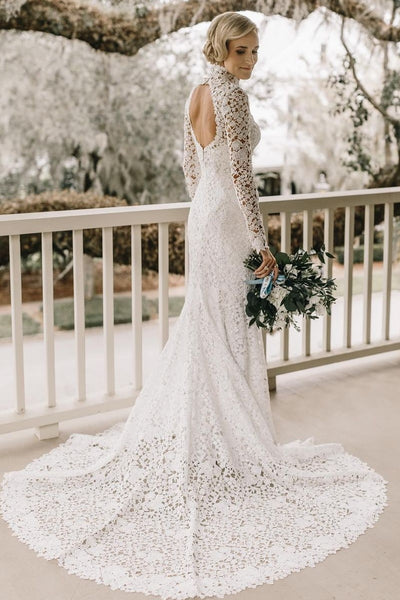 high-neck-sheath-lace-wedding-dresses-long-sleeves-1
