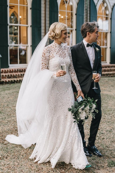high-neck-sheath-lace-wedding-dresses-long-sleeves