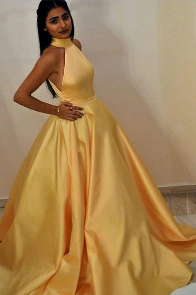high-neck-yellow-prom-gown-with-satin-full-skirt