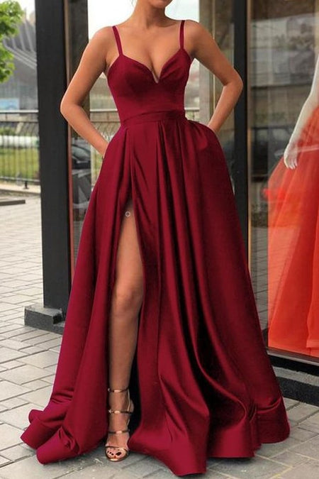 Curved Strapless Burgundy Prom Gowns Slit Side