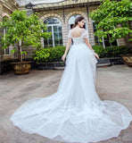 Horsehair Trim Hi-lo Wedding Dresses with Tulle Wrapped Sleeves