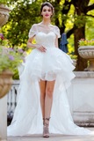 horsehair-trim-hi-lo-wedding-dresses-with-tulle-wrapped-sleeves
