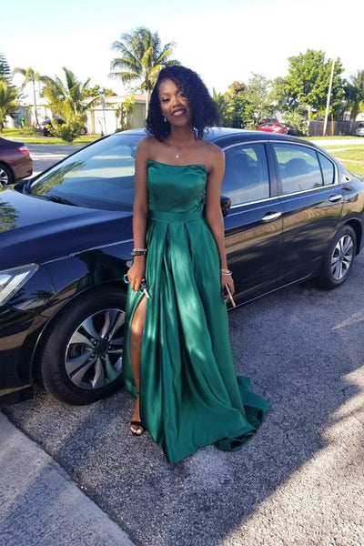 1840d3674b0b Hunter Green Satin Prom Gown Strapless Maxi Long Dress with Side ...