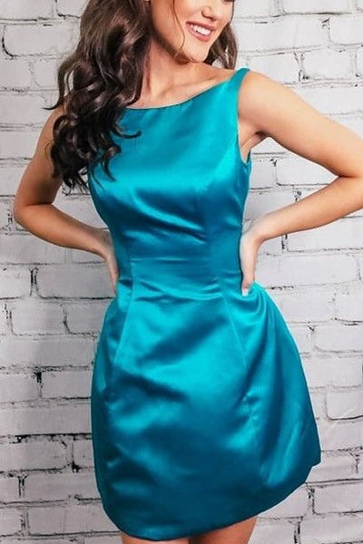 Hunter Satin Simple Cocktail Party Gown Dresses Cheap