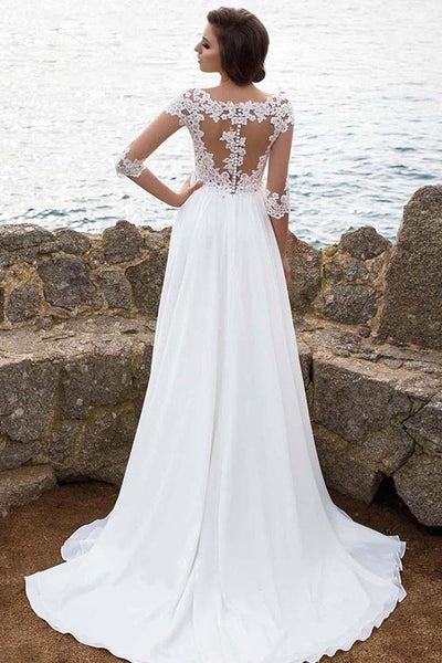 illusion-appliques-sleeves-beach-wedding-dresses-with-chiffon-skirt-1