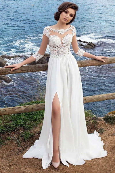 illusion-appliques-sleeves-beach-wedding-dresses-with-chiffon-skirt